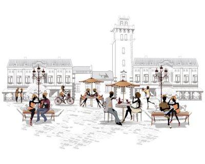 Fotomural Série de cafés de rua na cidade, com pessoas que bebem café