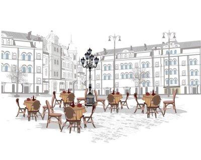 Fotomural Série de fundos decorados com vistas da cidade velha e cafés de rua. Mão desenhada Ilustração.