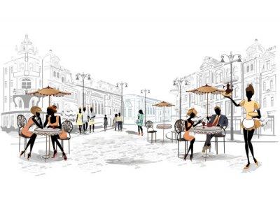 Fotomural Série de pontos de vista de rua na cidade velha de cafés