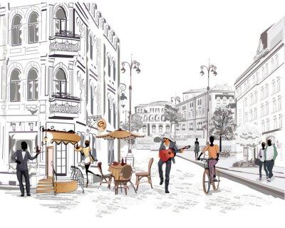 Fotomural Série de vista para a rua com as pessoas na cidade velha