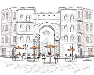Fotomural Série de vista para a rua com cafés na parte antiga da cidade