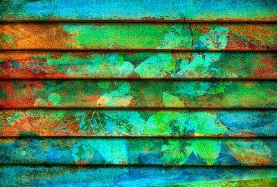 Fotomural série rítmica linhas coloridas de madeira