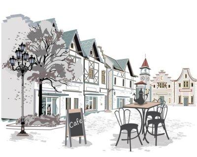Fotomural Série, rua, cafés, antigas, cidade