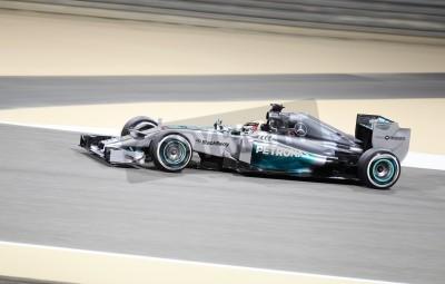 Fotomural Shakir, Bahrein - ABRIL 04: Lewis Hamilton da corrida Mercedes durante a sessão de treinos na sexta-feira, abril 4, 2014, a Fórmula 1 Gulf Air Bahrain Grand Prix 2014