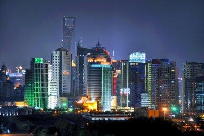Fotomural Shanghai skyline por noite