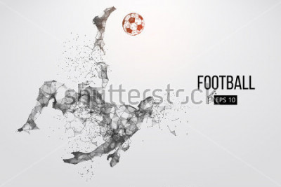 Fotomural Silhouette of a football player. Dots, lines, triangles, text, color effects and background on a separate layers, color can be changed in one click. Vector illustration