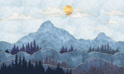 Fotomural Silhouettes of mountains with trees. Abstraction of textured plaster with gold elements. Mural, mural, Wallpapers for interior printing