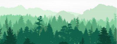 Fotomural Silhueta de floresta, ilustração vetorial.