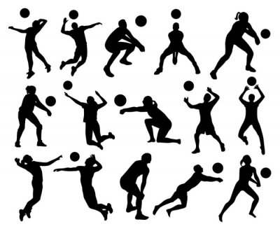 Fotomural Silhuetas de voleibol