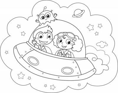Fotomural Simpatica navetta spaziale pilotata da bambini