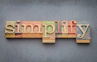 Fotomural Simplificar palavra em tipo de madeira