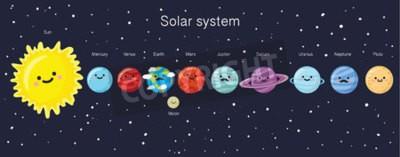 Fotomural Sistema solar com os planetas, o sol ea lua de sorriso bonitos. Vector a ilustração