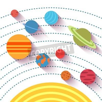 Fotomural Sistema solar e objetos espaciais. Vector o jogo no estilo liso.