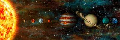 Fotomural Sistema solar, planetas em uma fileira, ultrawide