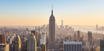 Fotomural Skyline de New York City Manhattan no por do sol.