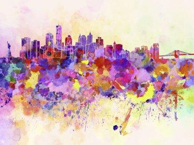 Fotomural Skyline de New York no fundo da aguarela