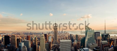 Fotomural Skyline de Nova York, olhando para o centro de Manhattan. Imagem panorâmica.