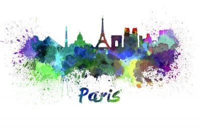 Fotomural Skyline de Paris em aquarela