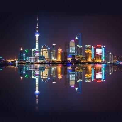 Fotomural Skyline de Shanghai, carré