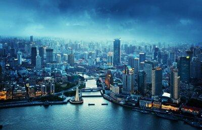 Fotomural skyline de Shanghai no por do sol, China
