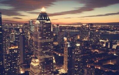 Fotomural Skyline, Novo, York, cidade, noite