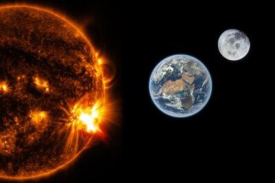 Fotomural Sol, terra e lua - Elementos desta imagem fornecidos pela NASA