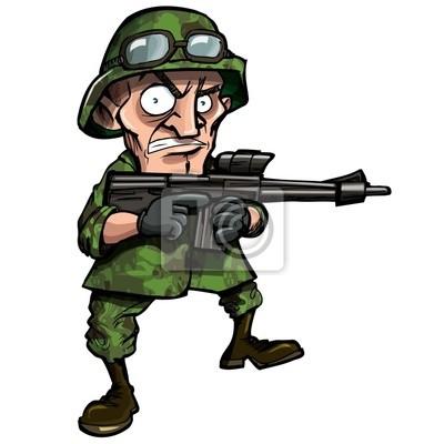 soldado dos desenhos animados isolado no branco fotomural