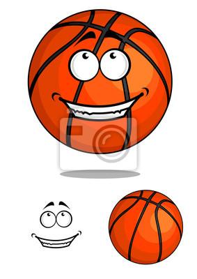 sorrindo feliz bola de basquetebol dos desenhos animados fotomural