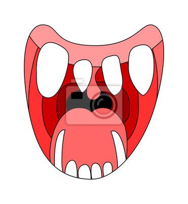 sorriso dos desenhos animados boca aberta bordos com dentes