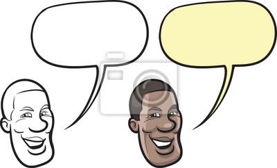 Sorriso Dos Desenhos Animados Homem Negro Rosto Fotomural