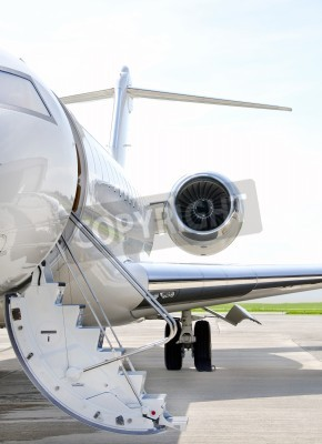 Fotomural Stairs with Jet Engine on a modern private jet airplane - Bombardier Global Express