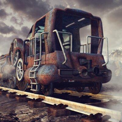 Fotomural Stary zardzewiały pociąg w górskiej scenerii