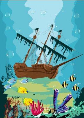Fotomural Submarinas, paisagem, antigas, pirata, navio