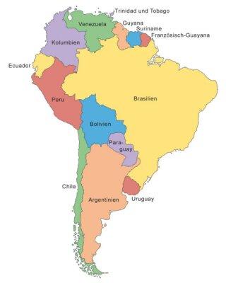 Fotomural Südamerika Karte em Farbe (com Beschriftung)