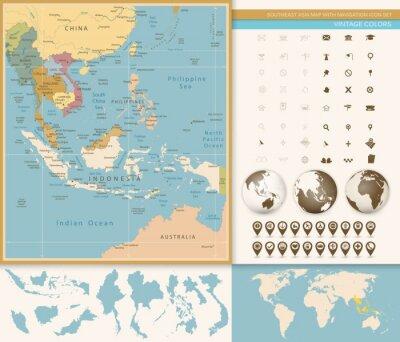 Fotomural Sudeste da Ásia Mapa Detalhado com Navegação Icon Set.