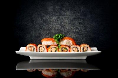 Fotomural Sushi, rolos, prato