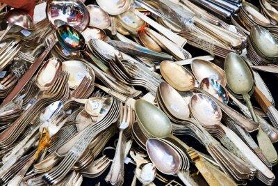 Fotomural Talheres de prata no mercado de pulgas