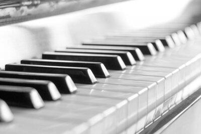 Fotomural Teclado de piano. Imagem preto e branco com foco seletivo