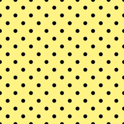 Fotomural Telha, vetorial, padrão, pretas, polca, pontos, amarela, fundo