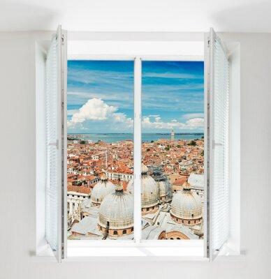 Fotomural Telhados de Florença vista através da janela