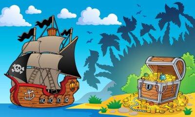 Fotomural Tema do pirata com caixa de tesouro 1