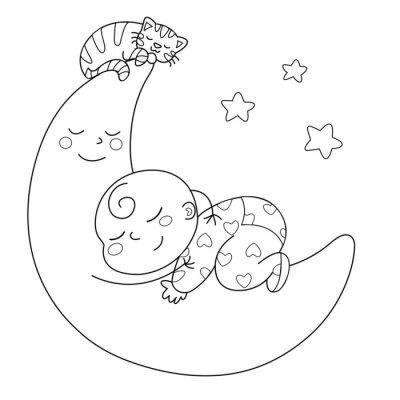 Fotomural Tenera luna con bebè che dorme