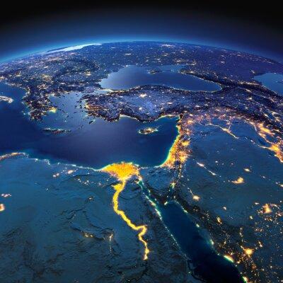 Fotomural Terra detalhada. África e Médio Oriente em uma noite moonlit