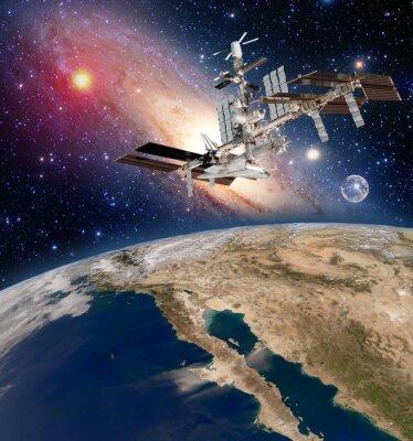 Fotomural Terra satélite astronomia estação espacial internacional estação meteorológica Via Láctea galáxia. Elementos desta imagem fornecida pela NASA.