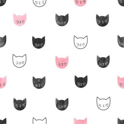 Fotomural Teste padrão bonito sem emenda dos gatos. Vetorial, fundo, aquarela, gato, cabeças