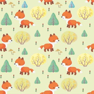 Fotomural Teste padrão colorido colorido do bebê com a imagem de animais bonitos de uma floresta. Fundo do vetor.