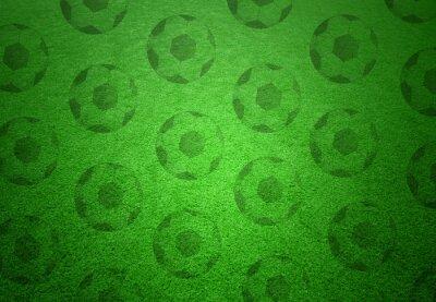 Fotomural Teste padrão das bolas de futebol no fundo da grama verde. Fundo conceptual do espaço do copy do futebol.
