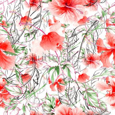Fotomural Teste padrão de flor cor-de-rosa do Wildflower em um estilo da aquarela. Nome completo da planta: rosa, rosa, hulthemia. Flor selvagem do Aquarelle para o fundo, a textura, o teste padrão do envoltóri