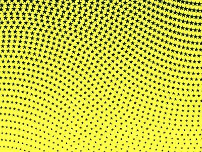 Fotomural Teste padrão de intervalo mínimo ondulado retro simples de estrelas pretas em um ba amarelo