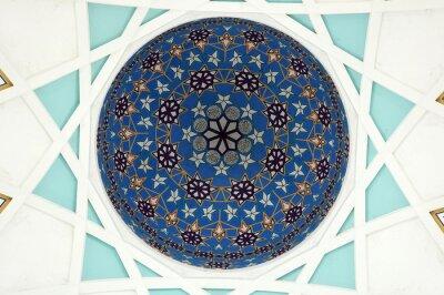 Fotomural Teste padrão dentro da abóbada principal da mesquita do estado de Sarawak. A mesquita a maior para muçulmanos no estado de Sarawak, Malásia do leste. Base de design de padrão de repetição na geometria
